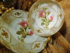 ROYAL SHAFFORD TEA CUP AND SAUCER MOSS ROSES RAISED GOLD TRIM GREY BAND MOULDED in Antiques, Decorative Arts, Ceramics & Porcelain | eBay