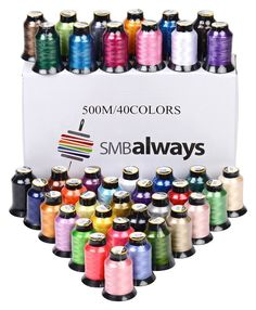 40 Spools Polyester Embroidery Machine Thread Set 500M Each Vibrant Colors New