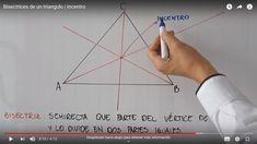 Tutorial práctico y de fácil comprensión sobre el trazado de las bisectrices de un triángulo y su punto de intersección Line Chart, Diagram, Dots
