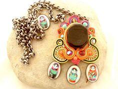 Matryoshka soutache necklace  nectarine and par beadsofaquarius, $105.00