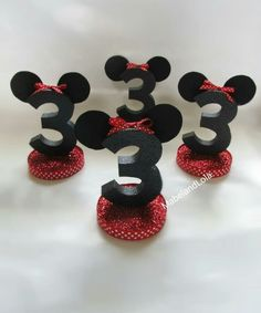 4 Minnie Mouse Theme Birthday Party Centerpiece Table Number Decorations ANY AGE #Unbranded #BirthdayChild