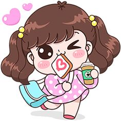 Boobib : Have a good day (No Text Ver. Cute Cartoon Pictures, Cute Cartoon Girl, Cute Love Cartoons, Couple Illustration, Fashion Illustration Sketches, Cute Love Couple, Girls In Love, Kawaii Stickers, Cute Stickers
