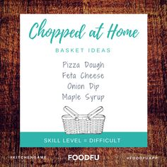 You've watched Chopped on TV, now it's time to play Chopped at Home! We tell you how to play Chopped at Home with fun basket ideas for all skill levels. Cooking Contest, Cooking Competition, Game Basket, Basket Ideas, Chopped Tv Show, Chopped Junior, Cooking Games, Kids Cooking Party, Cooking Pasta