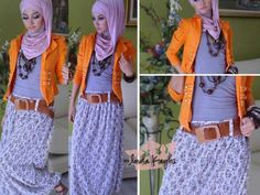 Cute #hijabi outfit with a high-waisted belt. Want to try this. ❤ hijab style