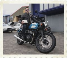 One of our team modelling the retro-styled Triumph Raven jacket along with a special edition Bonneville Spirit.