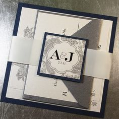 Elegant  Wedding Invitations, Navy and Silver, Wedding Invitations, Monogram with Ribbon Belly Band  - SAMPLE KIT - Bellevue