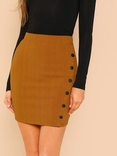 Khaki Mini Skirt Office Lady Solid Button Up Jersey Short Wrap Skirt Autumn Workwear Going Out Elegant Women Skirts Bodycon Fashion, Skirt Fashion, Bodycon Style, Office Skirt, Jersey Skirt, Body Con Skirt, Knit Skirt, Office Ladies, Wedges