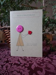Anniversary card made with buttons and brown Kraft от buttonbaps Cricut Anniversary Card, Wedding Cards Handmade, Button Cards, Card Sketches, Card Tags, Creative Cards, Diy Cards, Homemade Cards, Cardmaking