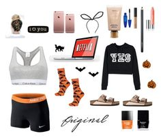 """Halloween At Home"" by laughoutloud-101 ❤ liked on Polyvore featuring NIKE, Calvin Klein, Topshop, Seletti, Butter London, Maybelline, NARS Cosmetics, MAC Cosmetics, Birkenstock and Clinique"