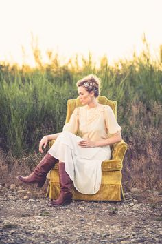 Hair broaches, field sunset, bridal inspired photo shoot. OffWhite Makeup and Beauty.