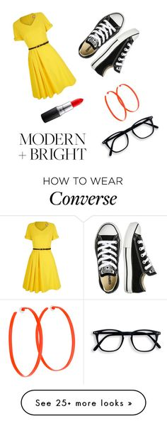 """""""Loud Lemon"""" by tankytank on Polyvore featuring Yumi, Converse, MAC Cosmetics and Alexis Bittar"""