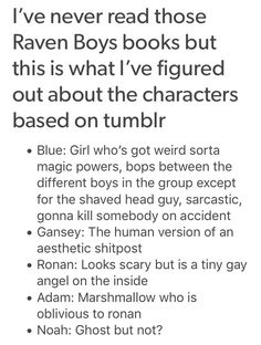 """""""human version of an aesthetic shitpost"""" is my favorite description of Gansey, possibly ever"""