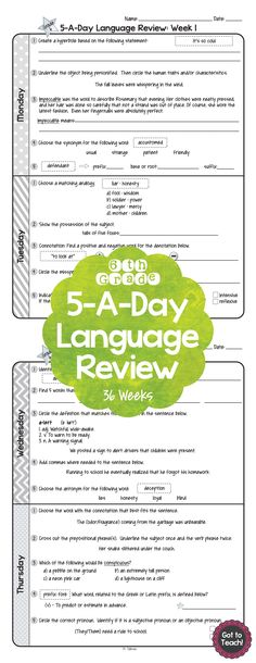 36 weeks of daily Common Core language review for 6th grade! 5-A-Day: 5 tasks a day, M-Th. CCSS L.6.1-L.6.6 Also available for 4th and 5th grades! $