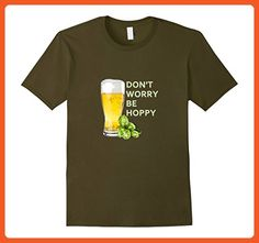 Mens DON'T WORRY BE HOPPY Craft Beer T-Shirt Medium Olive - Food and drink shirts (*Partner-Link)
