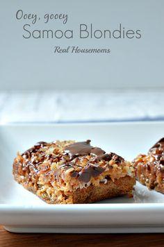 "Ooey Gooey Samoa Blondies 9"" square with coconut, caramels, chocolate almond bark| Real Housemoms | #dessert #blondie #samoas"