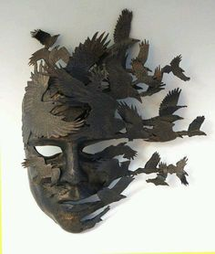 """""""Raven came but there was no message only the dead to feast on . the mask of life stripped in death Neil G Vol du Corbeau: Art of Mask"""" Sculptures Céramiques, Sculpture Art, Sculpture Ideas, Raven Mask, Cool Masks, Leather Mask, Venetian Masks, Arte Horror, Masks Art"""