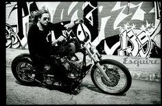 Brad Pitt. motorcycle. yes. scruff. YES.
