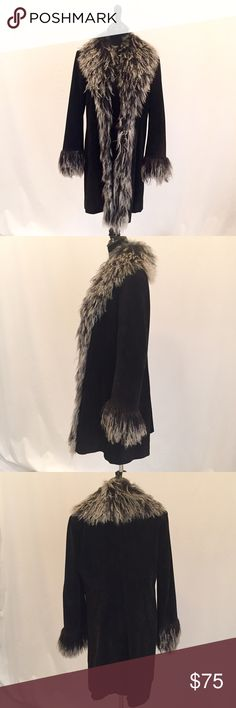 """Bebe Suede Black Coat Black suede leather coat by Bebe with lightly padded shoulders, hook and eye front hidden closure, hip slip pockets and centered back slit. The coat is 18 years old and has been worn a couple of times only. Shoulders 18.5"""", bust 39"""", length 34.5"""", sleeve length 24.5"""". bebe Jackets & Coats"""