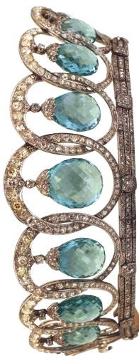 Tiara from Queen Ena'a aquamarine parure, after its modification by Bulgari.