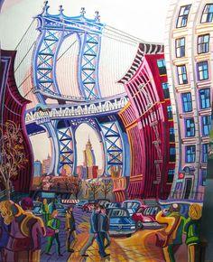 PUENTE MANHATTAN (NUEVA YORK). Oleo sobre lienzo. 81 x 100 x 3,5 cm.