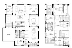 Floor Plan Friday: BIG double storey with 5 bedrooms - modify the dining area - shorten so side patio dining becomes formal dining. 5 Bedroom House Plans, Dream House Plans, Modern House Plans, House Floor Plans, Double Storey House Plans, Double Story House, The Plan, How To Plan, The Block Glasshouse
