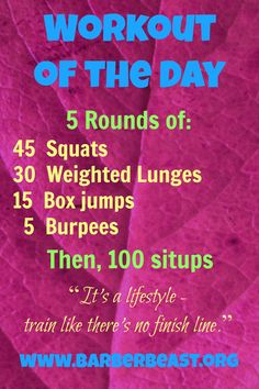 #Workout of the Day - Get #Fit for the Beast on the Bay!  5 Rounds of squats, weighted lunges, box jumps and burpees.  Situps in the after party.