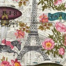 Wild About Paris Quilting Fabric - Cream