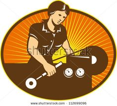 Illustration Of A Female Machinist Factory Worker Working On Lathe Machine Set Inside Ellipse Done In Retro Style. - 112699096 : Shutterstock