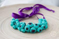 Flower Necklace, Wedding Necklace, Jewelry handmade, purple, turquoise Bib Necklaces by eteniren on Etsy