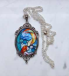 Mermaid.  Necklace with Pendant. 30x40 mm. by KronickArt on Etsy, $40.00