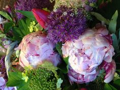Peonies, Alliums, tulips and more in lovely pinks and purples.