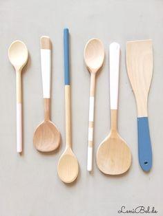 Cooking Utensils, Spoon, Upcycle, Xmas, Christmas, Tableware, Gallery, Painted Spoons, Vintage Tins