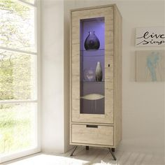 Palma Cabinet with Single Glass Door,Oak