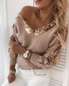 Trend Fashion, Look Fashion, Womens Fashion, Casual Sweaters, Knit Sweaters, Sequin Sweater, Lady V, Long Sleeve Sweater, Ideias Fashion