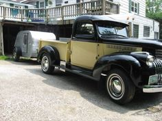 pulling it out of the garage with our 1946 Chevy pickup