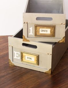 Mde from wooden boxes, and using light switch plates and brass corners from Home Depot, these storage containers are a winner. Anthropologie Inspired Distressed Storage Boxes-4