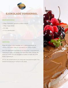 Afrikaans, Breakfast Ideas, Kos, Food Print, Coffee Shop, Frosting, Cake Recipes, Recipies, Food And Drink