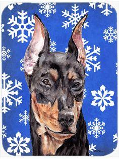 German Pinscher Winter Snowflakes Mouse Pad - Hot Pad or Trivet SC9788MP #artwork #artworks