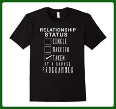 Mens RELATIONSHIP STATUS - TAKEN BY A BADASS PROGRAMMER T SHIRTS Small Black - Careers professions shirts (*Amazon Partner-Link)