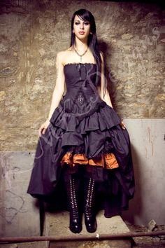 Steampunk Wedding Dress Gothic Lolita Inspired Vampire in Black Cotton- Custom to Order