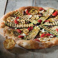 Greco Pizza: grilled zucchini, Kalamata olives & Feta cheese