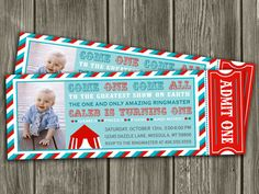 Vintage Circus Ticket Invitation  FREE thank by DazzleExpressions, $15.00