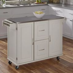 Red Barrel Studio Lomas Kitchen Island with Stainless Steel Base Finish: White Mobile Kitchen Island, Rolling Kitchen Island, Wood Kitchen Island, Boho Kitchen, Kitchen Cart, Kitchen Design, Kitchen Islands, Kitchen Ideas, Pantry Design