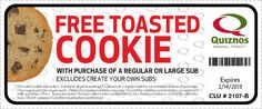 This advertisement is an example of a premium. In this specific advertisement for Quiznos, it states if you buy a regular large sub, you will receive a free toasted cookie. I feel like premiums work really well with food, especially when a dessert is offered as the free item. #TRCM454 #quiznos #cookies #free