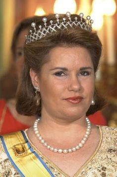 Grand Duchess Maria Teresa, Grand Duchess consort of Grand Duke Henri, wearing the Diamond Pearl Choker Tiara, Luxembourg (made by Chaumet; pearls, diamonds).
