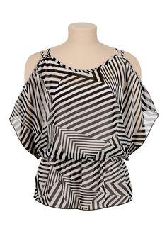 Striped chiffon cold shoulder peplum top