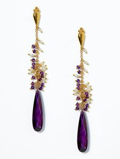 PURPLE & PEARL DROP EARRINGS