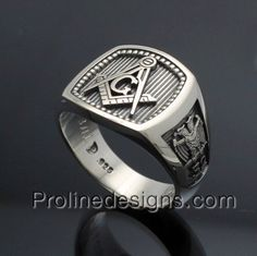 Masonic Scottish Rite Ring in Sterling Silver ~ Style 034