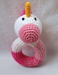 unicorn crochet rattle by emilylbaum on Etsy