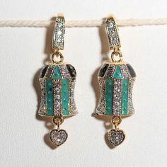 green meena work earring